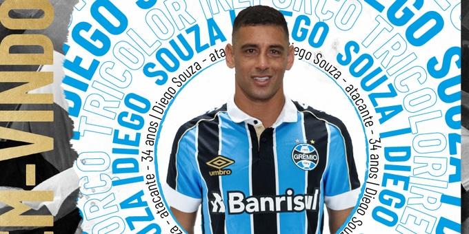 Diego Souza assinará um contrato de um ano com o Grêmio | Foto: Grêmio / Divulgação / CP