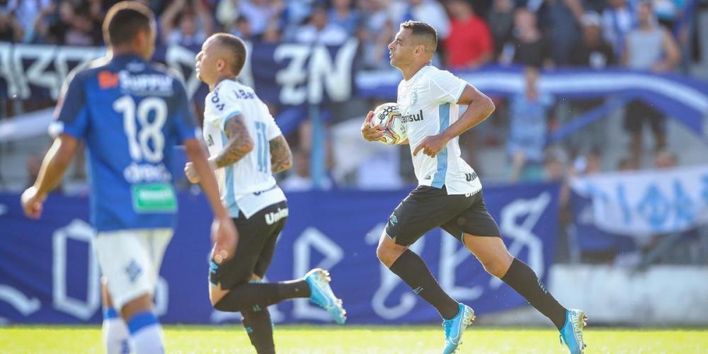 Diego Souza marcou o gol do Grêmio no jogo contra o Aimoré | Foto: Lucas Uebel / Grêmio / Divulgação / CP