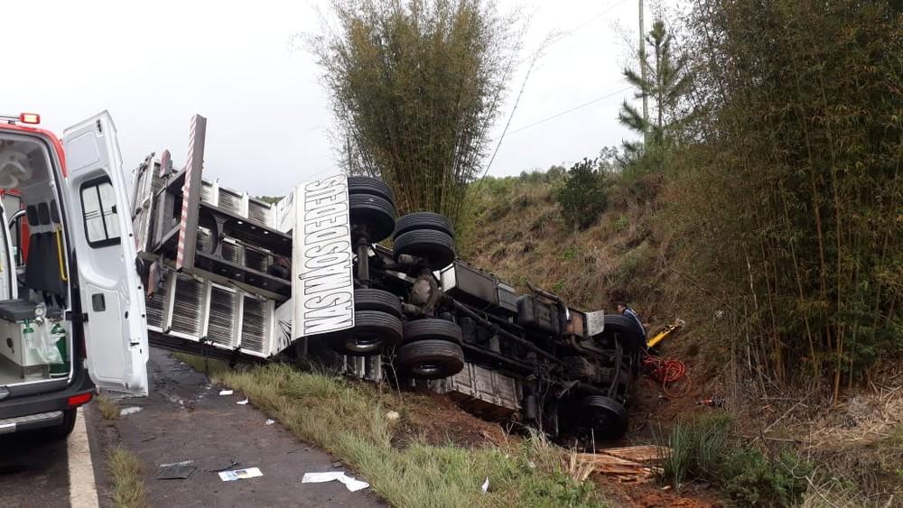 Acidente ocorreu no km 41, na ERS-124, em Montenegro — Foto: CRBM/Divulgação