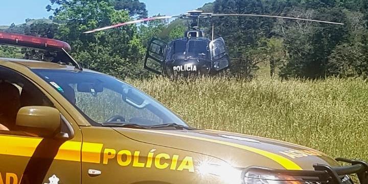 Cerco do 3ºBChq e 13º BPM conta com apoio aéreo do Batalhão de Aviação da BM e da Polícia Civil de Santa Catarina | Foto: Polícia Civil-SC / CP