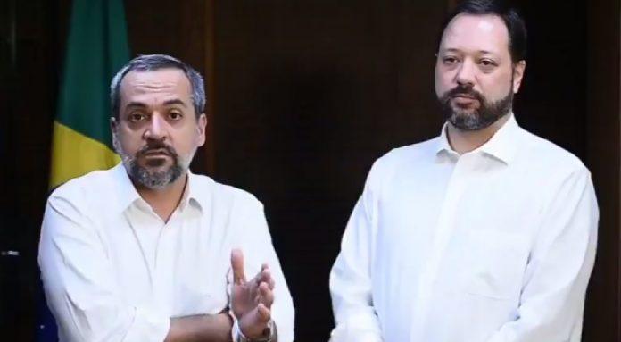 Ministro e presidente do Inep publicaram vídeo no Twitter. Foto: Reprodução