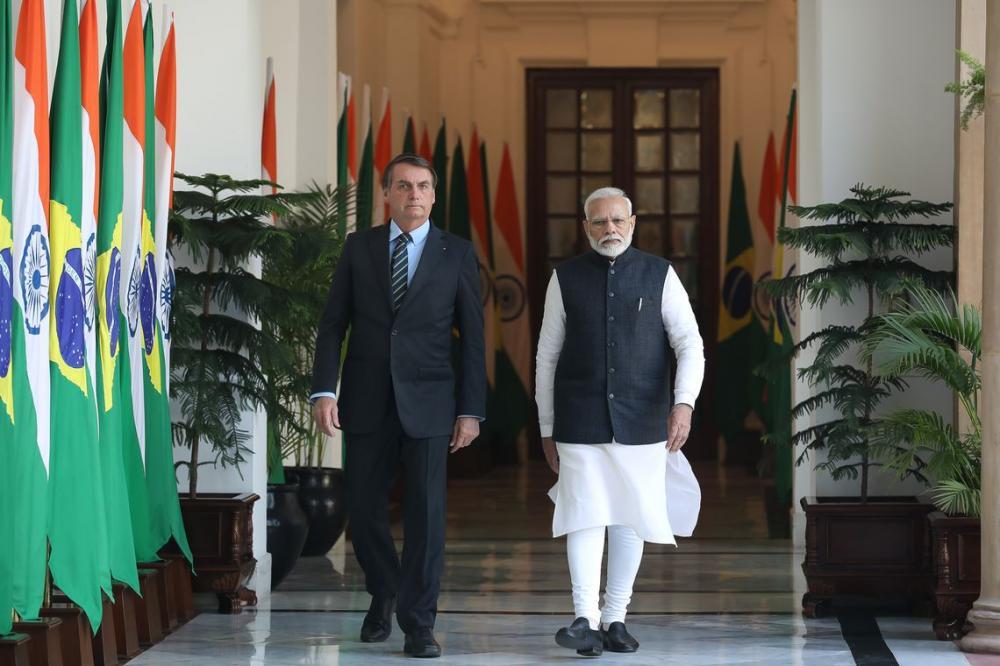 Presidente Jair Bolsonaro, durante reunião privada com o Primeiro-Minstro da Índia, Narenda Modi . Foto: Clauber Cleber Caetano/PR