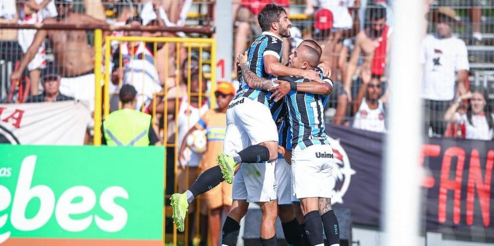 David Braz marcou o gol da primeira vitória do Grêmio na temporada e no Campeonato Gaúcho | Foto: Lucas Uebel / Grêmio / Divulgação / CP